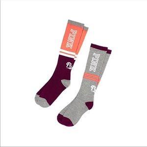 2 Victoria's Secret PINK Knee Socks in BOTH Styles
